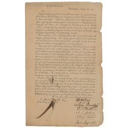 Thomas McKean Signed Circular Letter