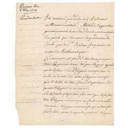 Alexis Clairaut Autograph Document Signed