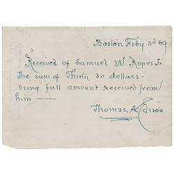 Thomas Edison Autograph Document Signed