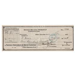 Thomas, Mina, and Charles Edison Signed Checks