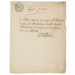 Jean-Baptiste Lamarck Autograph Document Signed