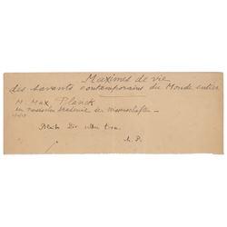 Max Planck Autograph Quotation Signed