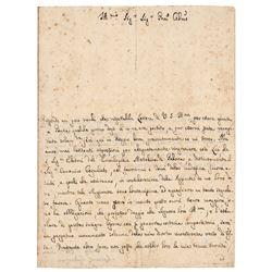 Lazzaro Spallanzani Autograph Letter Signed