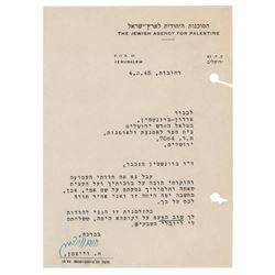 Chaim Weizmann Typed Letter Signed