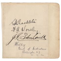 Imperial Trans-Antarctic Expedition: Shackleton, Worsley, and Stenhouse Signatures