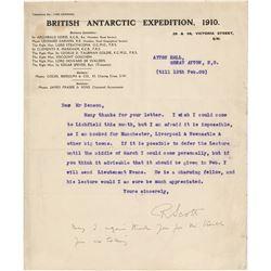 Robert Falcon Scott Typed Letter Signed