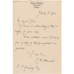 Charles F. Adams III Autograph Letter Signed