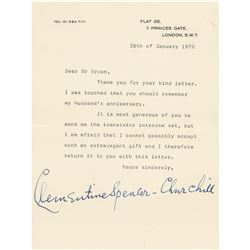 Clementine Churchill Typed Letter Signed