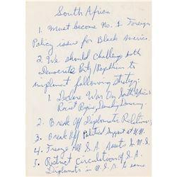 Eldridge Cleaver Handwritten Notes