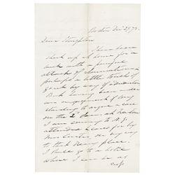 Benjamin Curtis Autograph Letter Signed