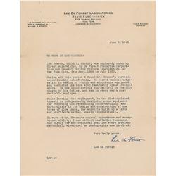 Lee de Forest Typed Letter Signed