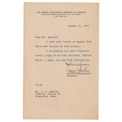 Louis Finkelstein Typed Letter Signed
