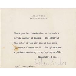 Helen Keller Typed Letter Signed