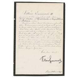 King Victor Emmanuel III Letter Signed