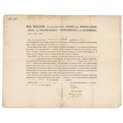 King William I of Netherlands Document Signed
