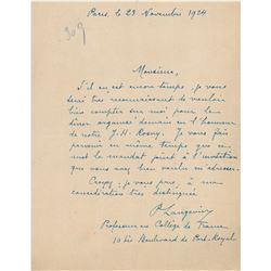 Paul Langevin Autograph Letter Signed