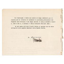 Benito Mussolini Document Signed
