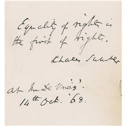 Charles Sumner Autograph Quote Signed