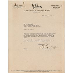 Eddie Rickenbacker Typed Letter Signed