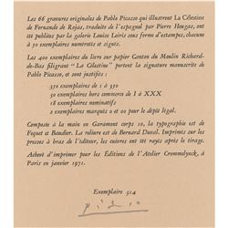 Pablo Picasso Signed Limitation Page