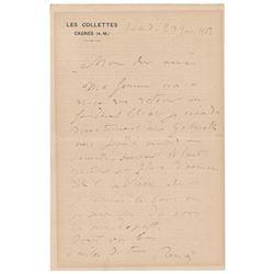 Pierre-Auguste Renoir Autograph Letter Signed