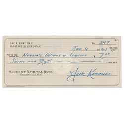 Jack Kerouac Signed Check