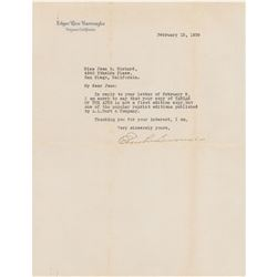 Edgar Rice Burroughs Typed Letter Signed