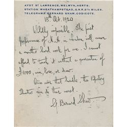 George Bernard Shaw Autograph Letter Signed