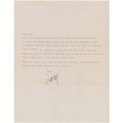 Tennessee Williams Typed Letter Signed