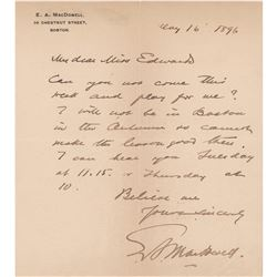 Edward A. MacDowell Autograph Letter Signed