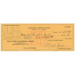 Woodstock: Max Yasgur Signed Check