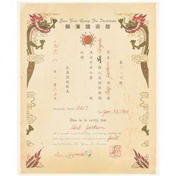 Bruce Lee Document Signed