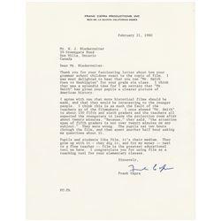 Frank Capra Typed Letter Signed