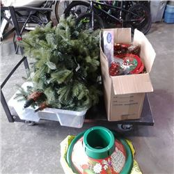 3 PC PRELIT CHRISTMAS TREE WITH STAND AND BOX OF DECOR