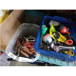 BIN OF PRUNERS AND HOSE NOZZLES
