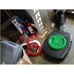 OIL CHANGE PAN, FIRE EXTINGUISHER, ESCAPE LADDER AND LAVA LAMP