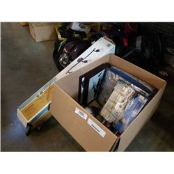 BOX OF 3D PUZZLE, PICTURES, HEATED BLANKET AND LIGHT FIXTURE