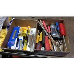 Two boxes of tools and jigsaw blades