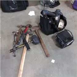 LOT OF HAMMERS, SLEDGE HAMMERS AND BAG OF TOOLS