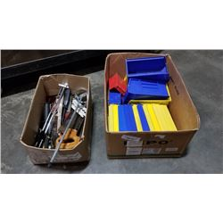 Two boxes of tools and parts organizers
