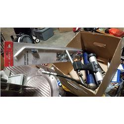 Box of pneumatic tools and grease gun