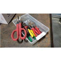 Small tote of tin snips and shears