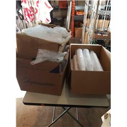 Two boxes of bubble bags and box of Styrofoam cups