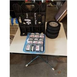 Tray of wood screws with racketeer tool organizer and four Dolly Wheels