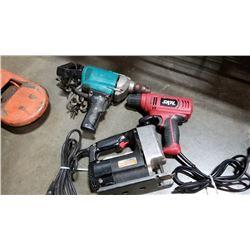 Makita electric drill, Skil drill and jigsaw working
