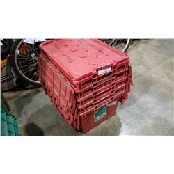 Stack of five red storage totes with built-in lids