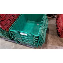 Stack of five green storage totes with built-in lids