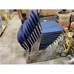 10 BLUE STACKING CHAIRS