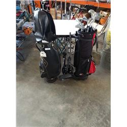 2 GOLF BAGS MIZUNO AND PARADISE WITH NORTHWESTERN CLUBS AND CART
