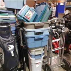 Stack of storage totes and lids
